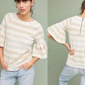 Anthropologie Maeve Helsa striped ruffled sleeve